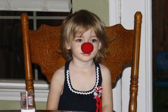 Emma wearing her clown nose